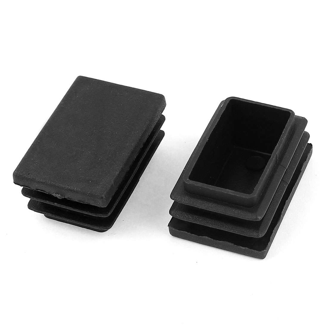 2 Pieces Black Plastic Rectangle Blanking End Caps Tubing TubeCover Inserts 25mm x 38mm