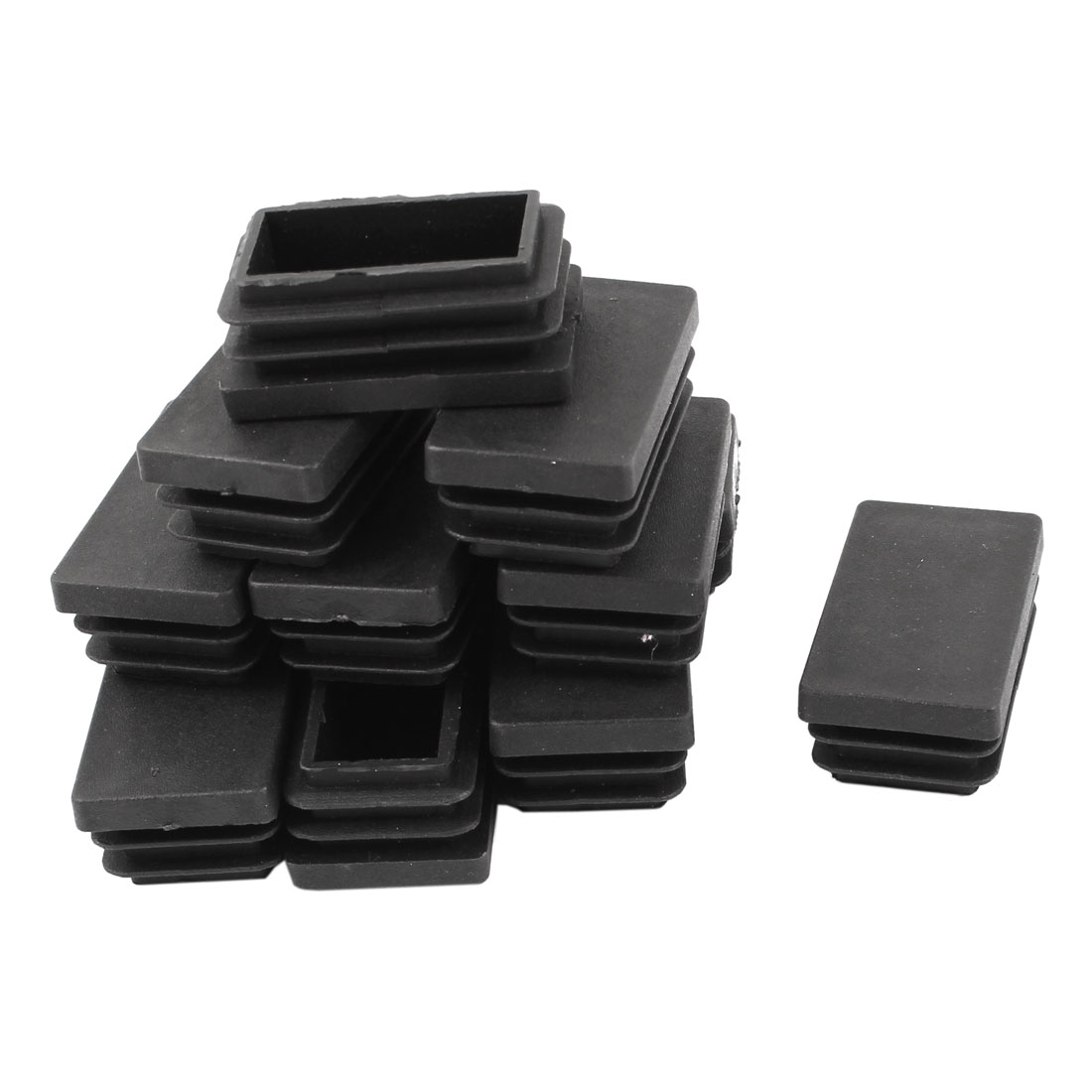 12 Pcs Black Plastic Rectangle Blanking End Caps Tubing Tube Inserts 30mm x 50mm