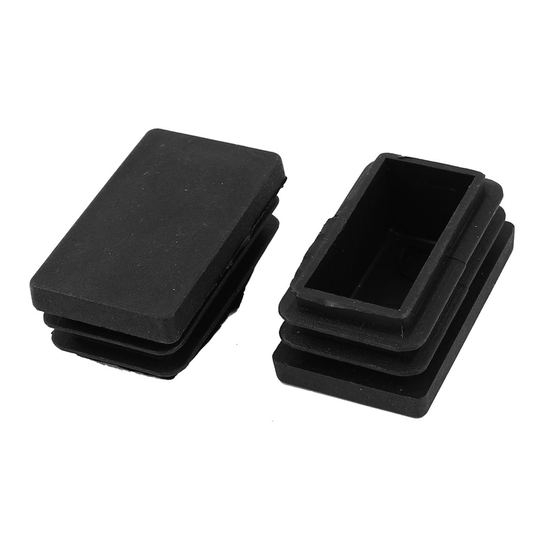 2 Pieces Black Plastic Rectangle Blanking End Caps Tubing Tube Inserts 30mm x 50mm