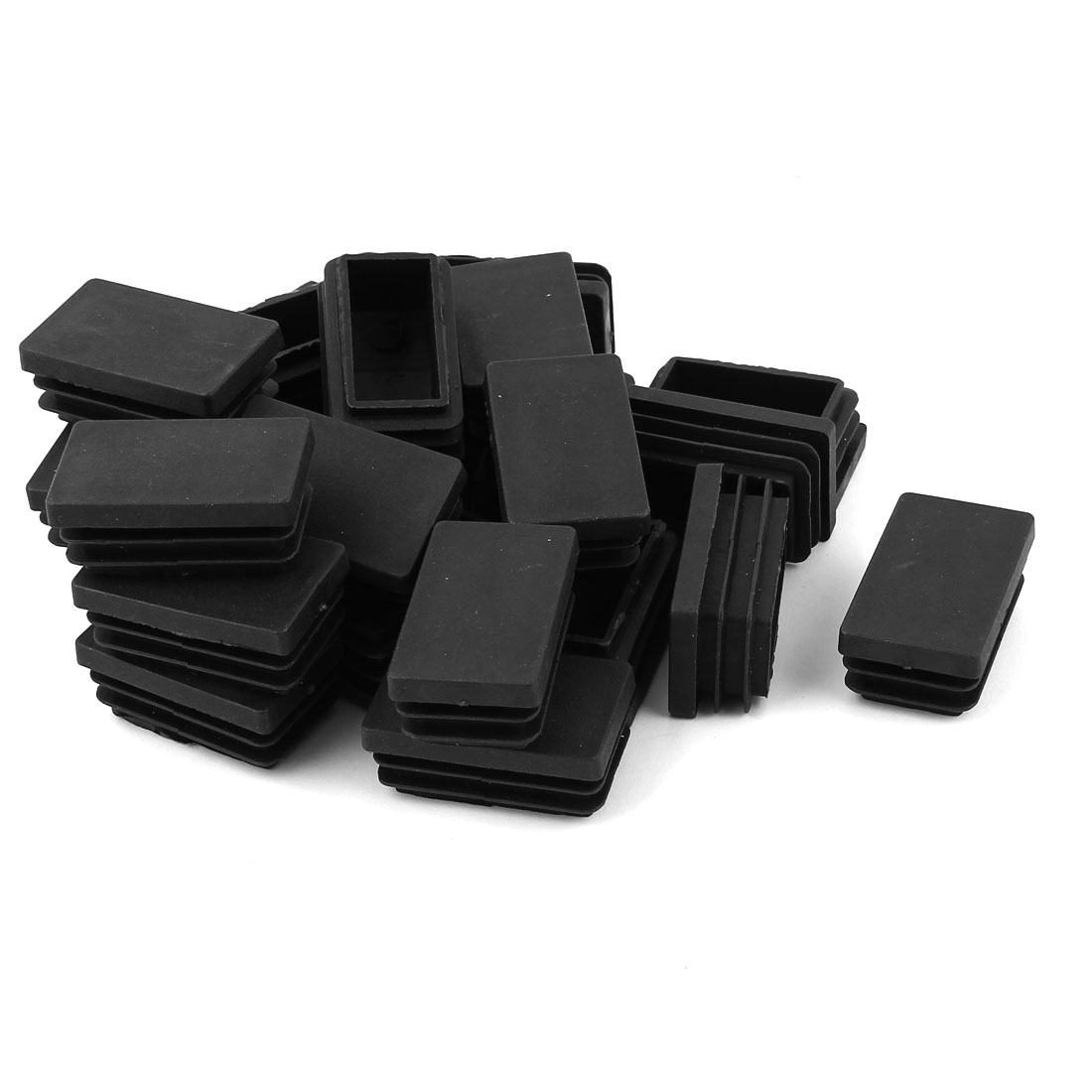 24 Pcs Black Plastic Rectangle Blanking End Caps Tubing Tube Inserts 30mm x 50mm