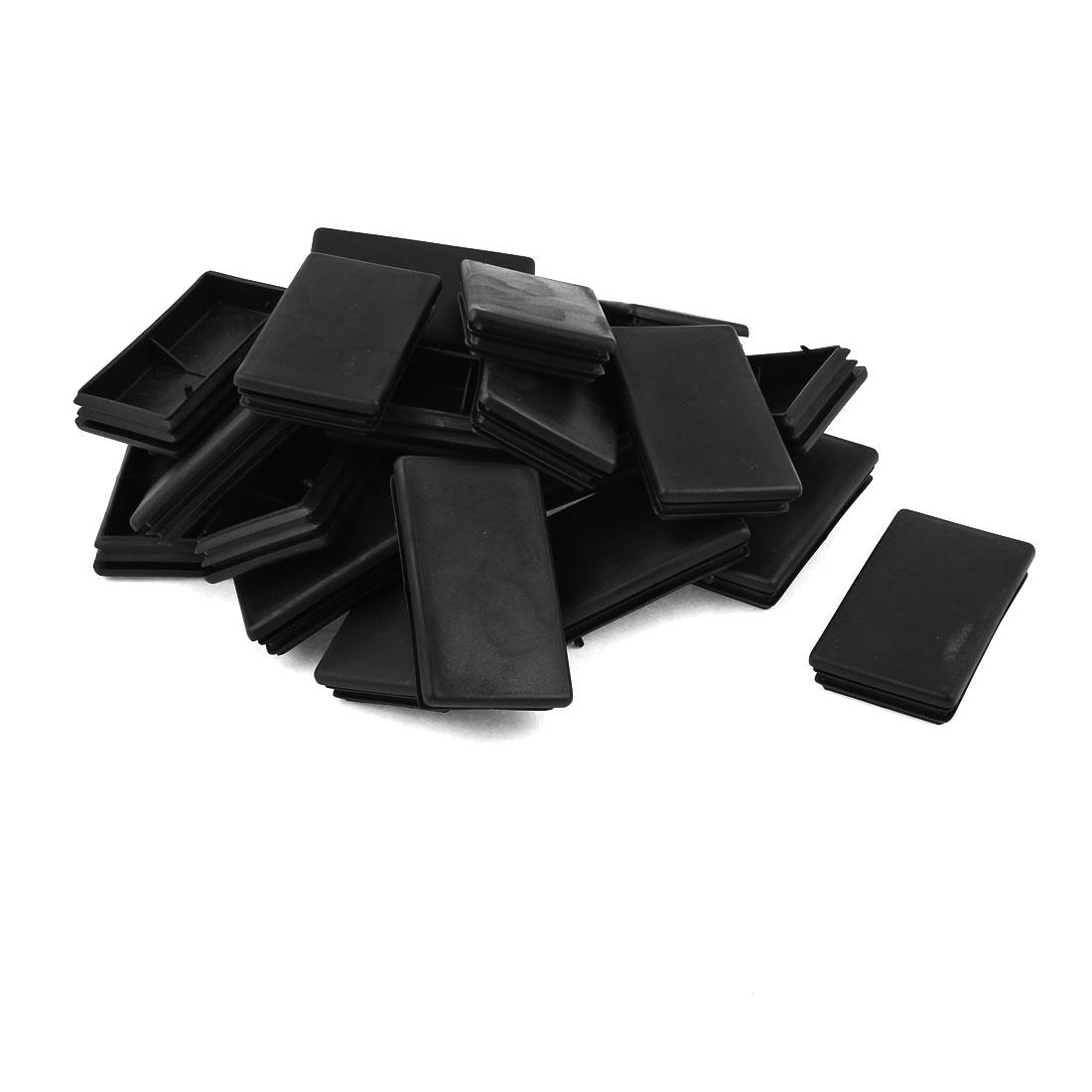 24 Pcs Black Plastic Rectangle Blanking End Caps Tubing Tube Inserts 45mm x 75mm