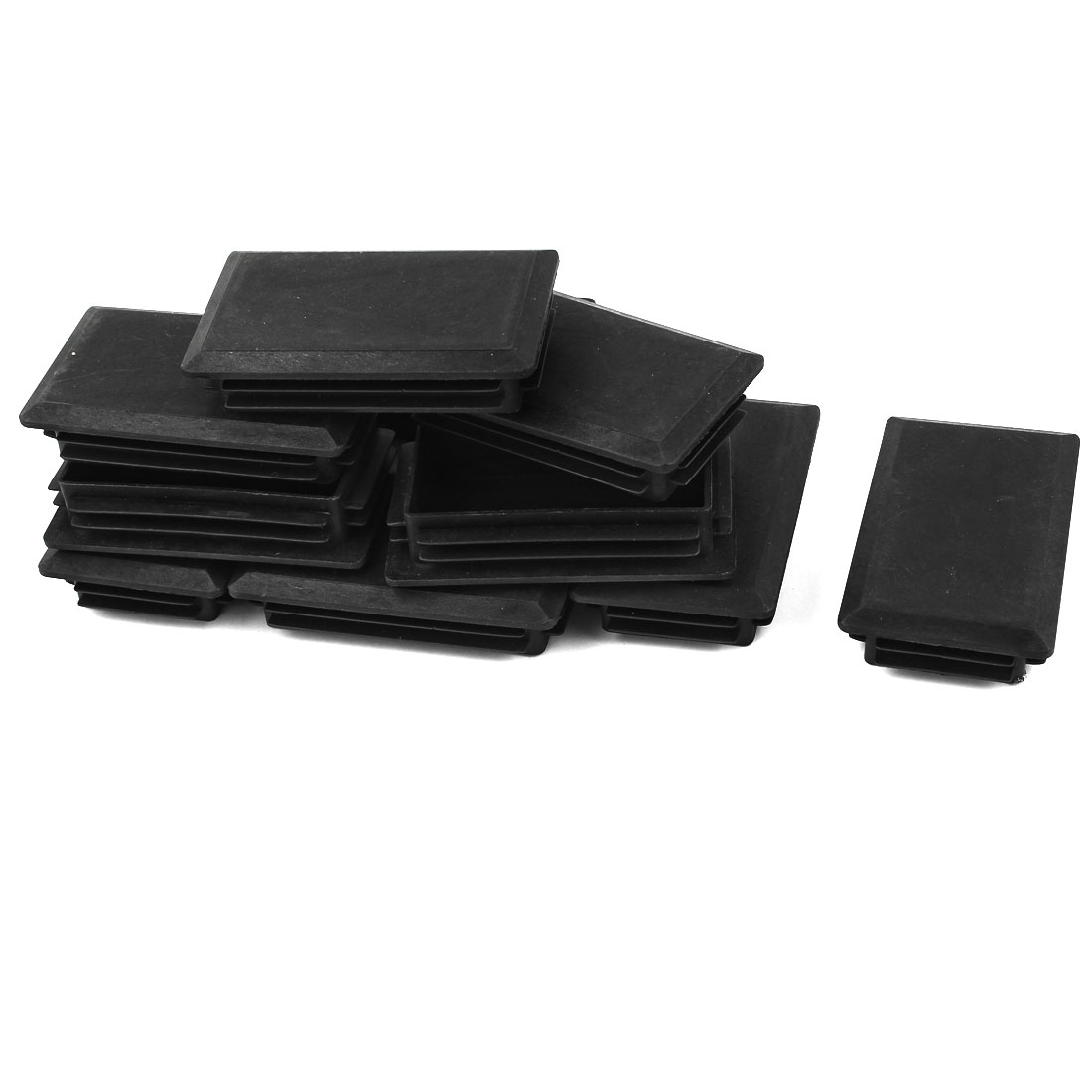 12 Pcs Black Plastic Rectangle Blanking End Caps Tubing Tube Inserts 60mm x 100mm