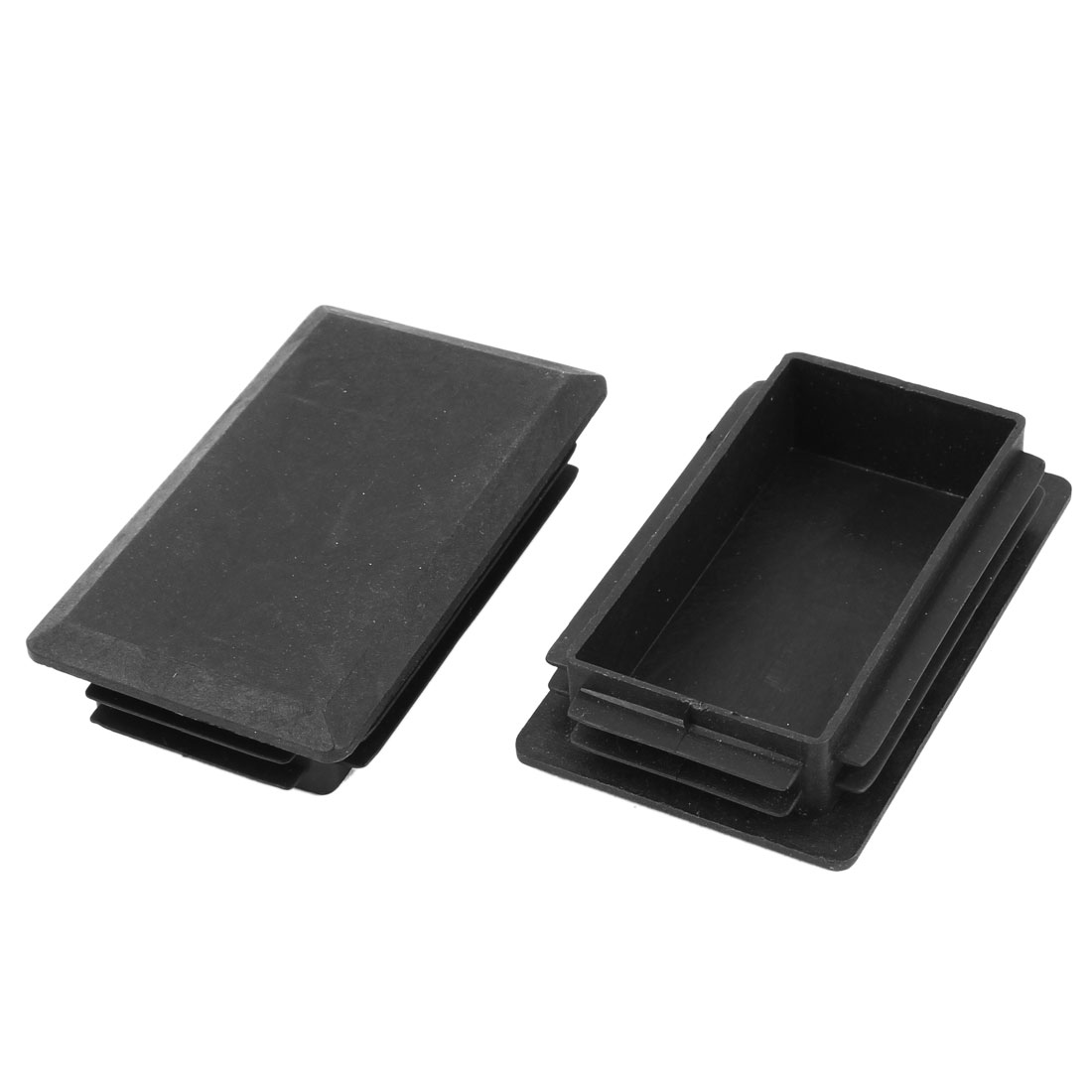 2 Pieces Black Plastic Rectangle Blanking End Caps Tubing Tube Inserts 60mm x 100mm
