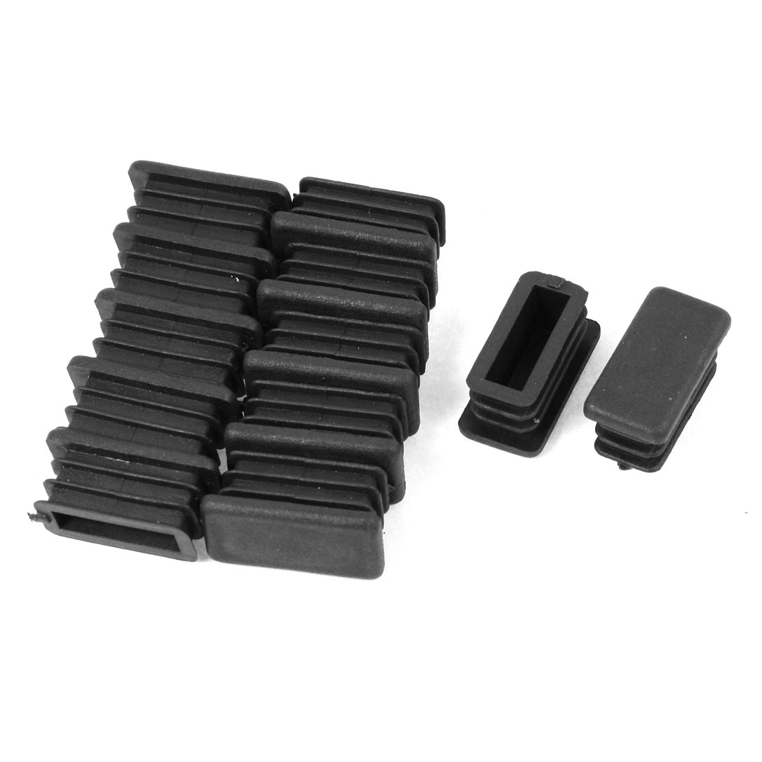 12 Pcs 13mm x 26mm Plastic Ribbed Blanking End Caps Rectangle Tubing Tube Pipe Insert Black