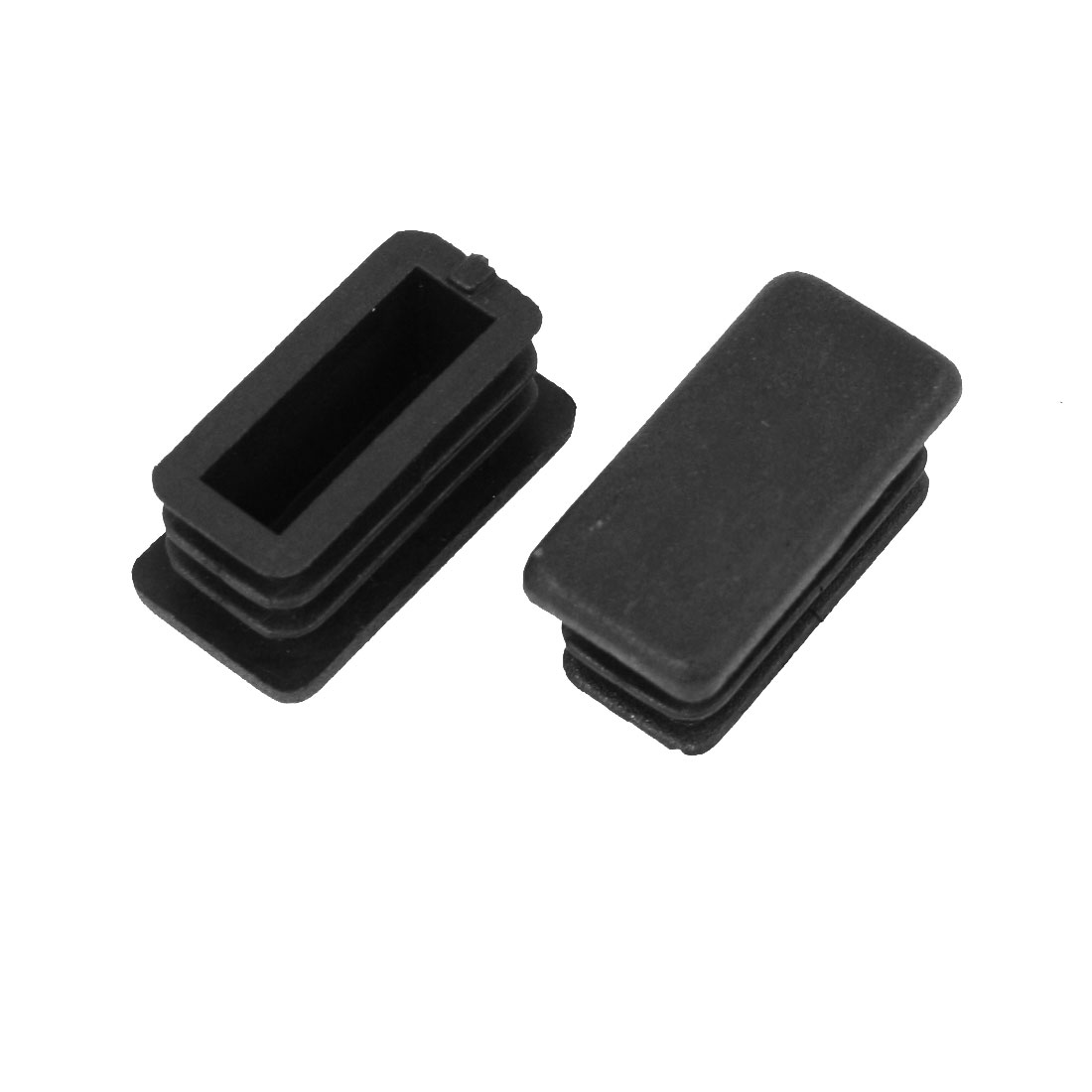 2 Pieces 13mm x 26mm Plastic Blanking End Caps Cover Rectangle Tubing Tube Pipe Insert Black