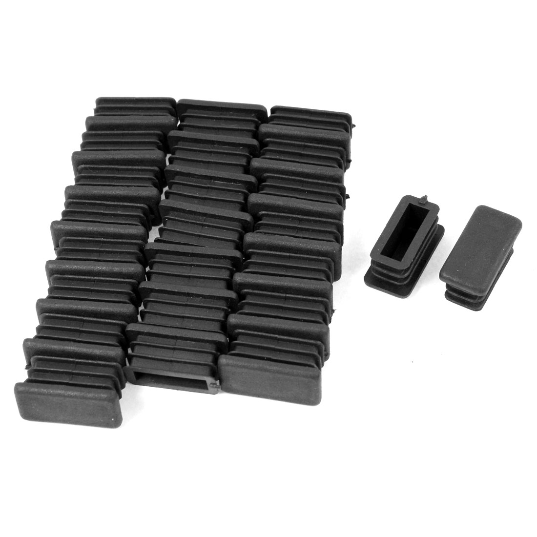 24 Pcs 13mm x 26mm Plastic Ribbed Blanking End Caps Rectangle Tube Pipe Insert