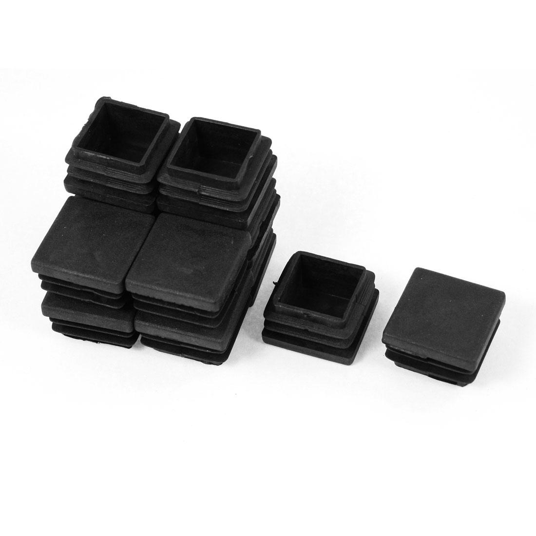 12 Pcs 28mmx28mm Plastic End Caps Cover Square Tubing Tube Insert Black
