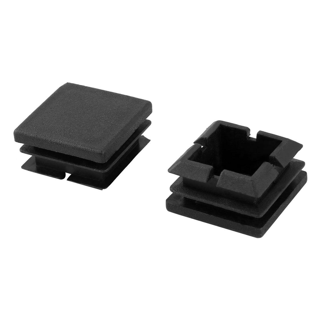 2 Pcs 25mm x 25mm Plastic Blanking End Caps Cover Square Tubing Tube Insert Black