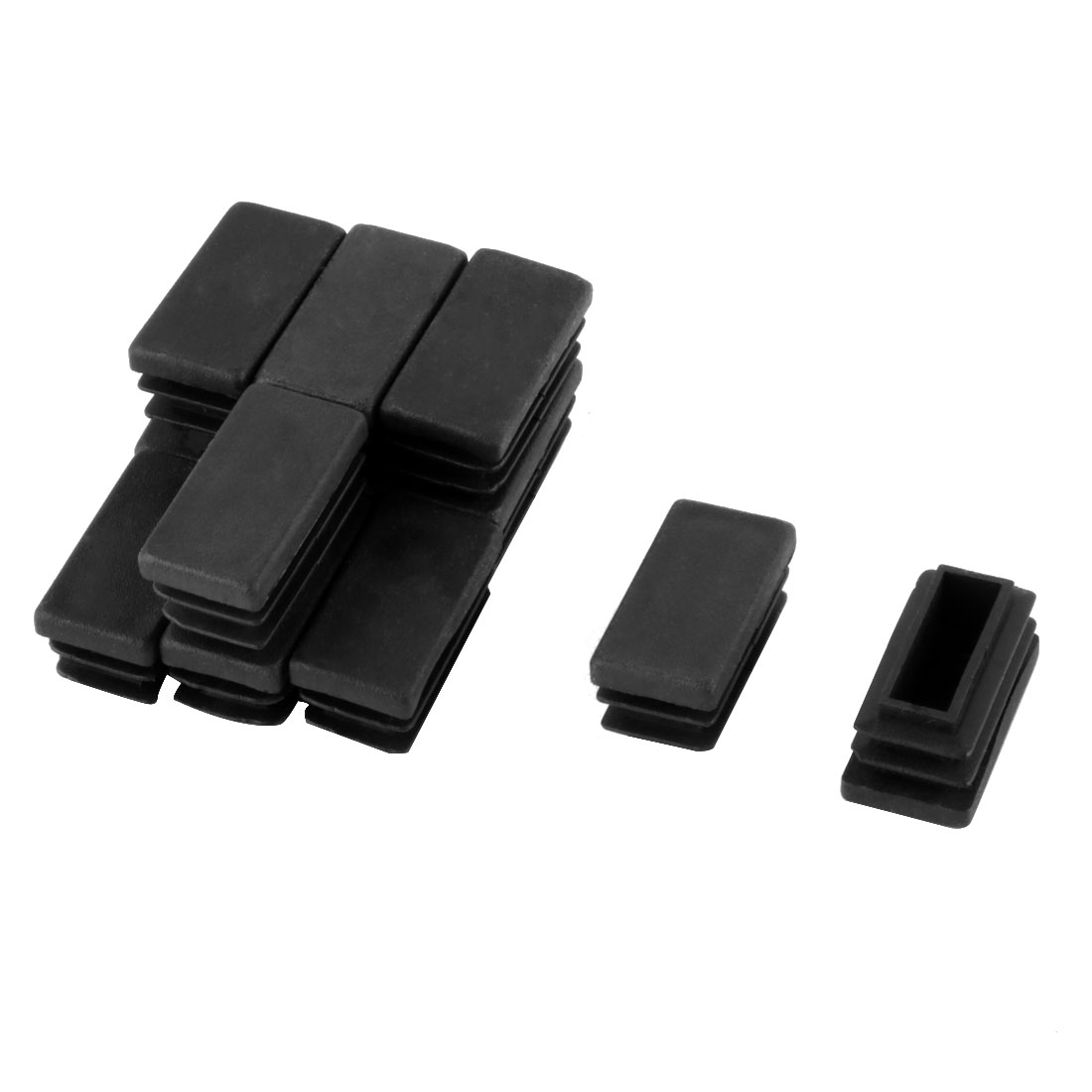 12 Pcs Black Plastic Rectangle Blanking End Caps Tubing Tube Inserts 15mm x 30mm