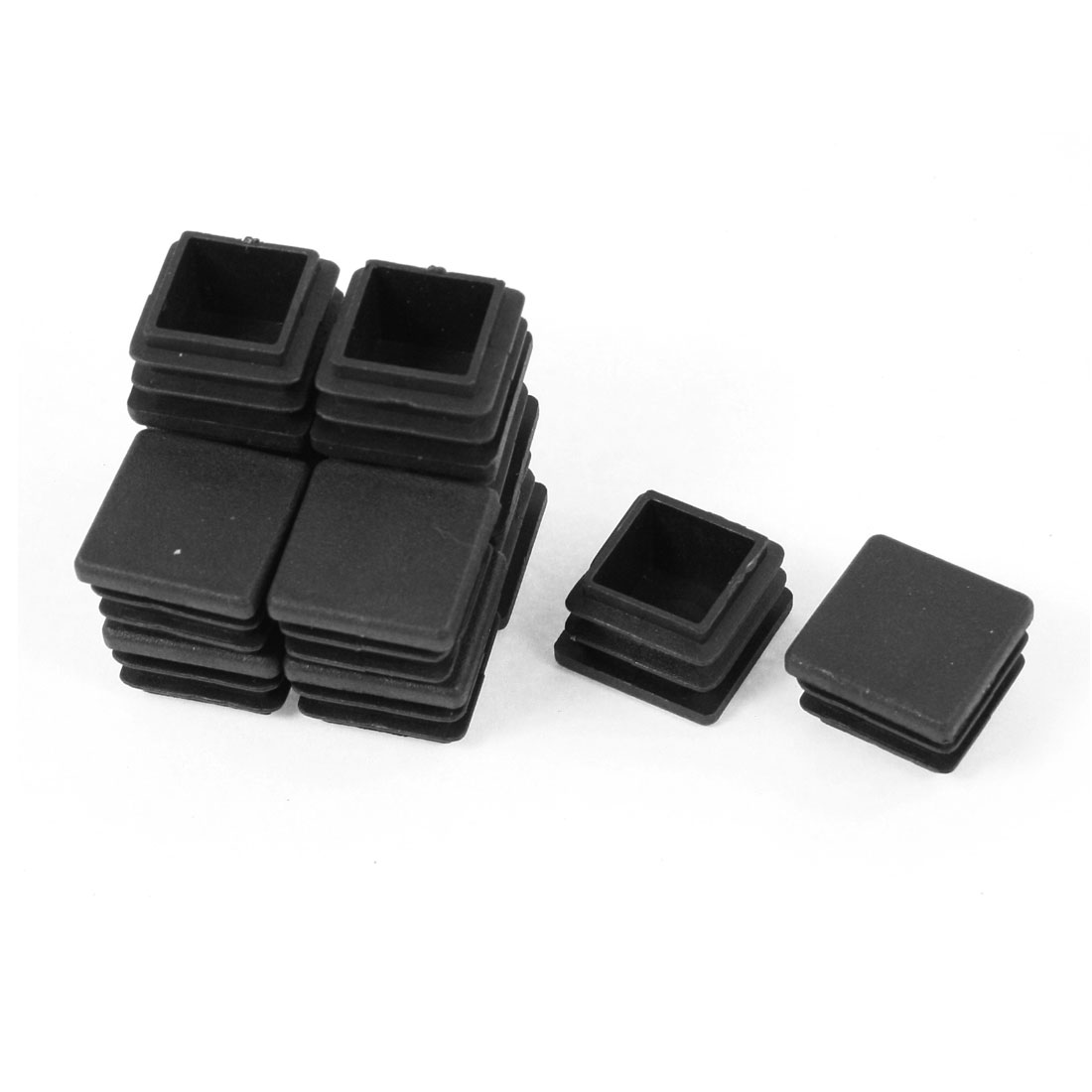 12 Pieces Black Plastic Square Blanking End Caps Tubing Tube Inserts 20mm x 20mm