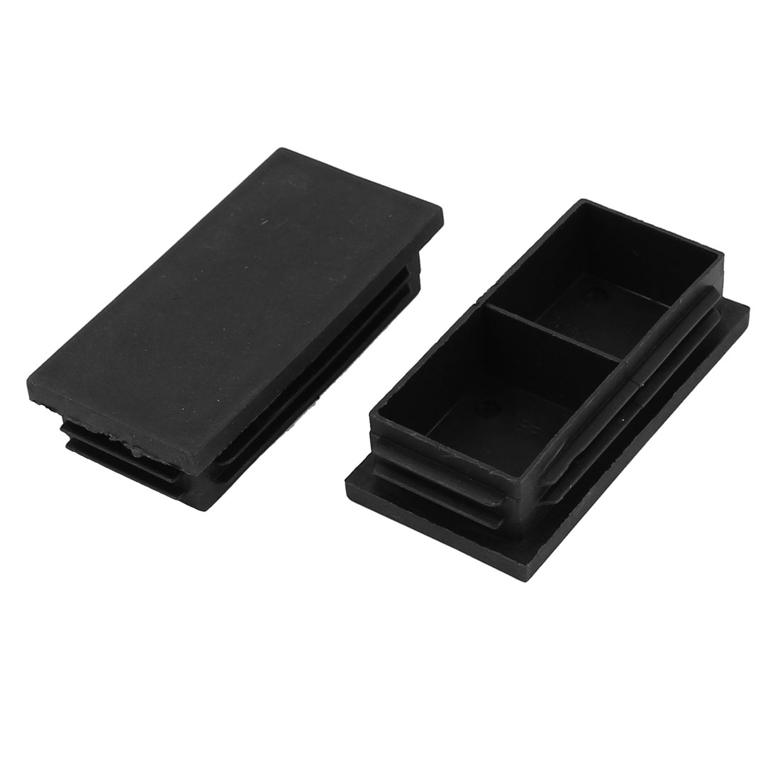 2 Pcs Black Plastic Rectangle Blanking End Caps Tubing Tube Pipe Inserts 40mm x 80mm