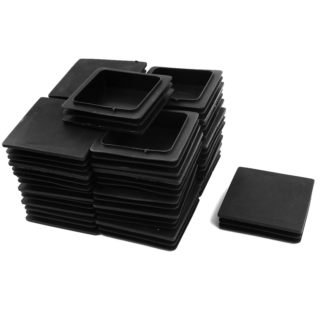 24 Pcs Black Plastic Square Blanking End Caps Tubing Tube Inserts 100mm x 100mm