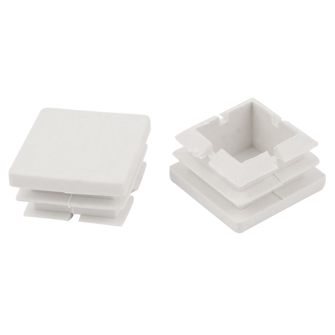 2 Pieces White Plastic Square Blanking End Caps Tubing Tube Inserts 25mm x 25mm
