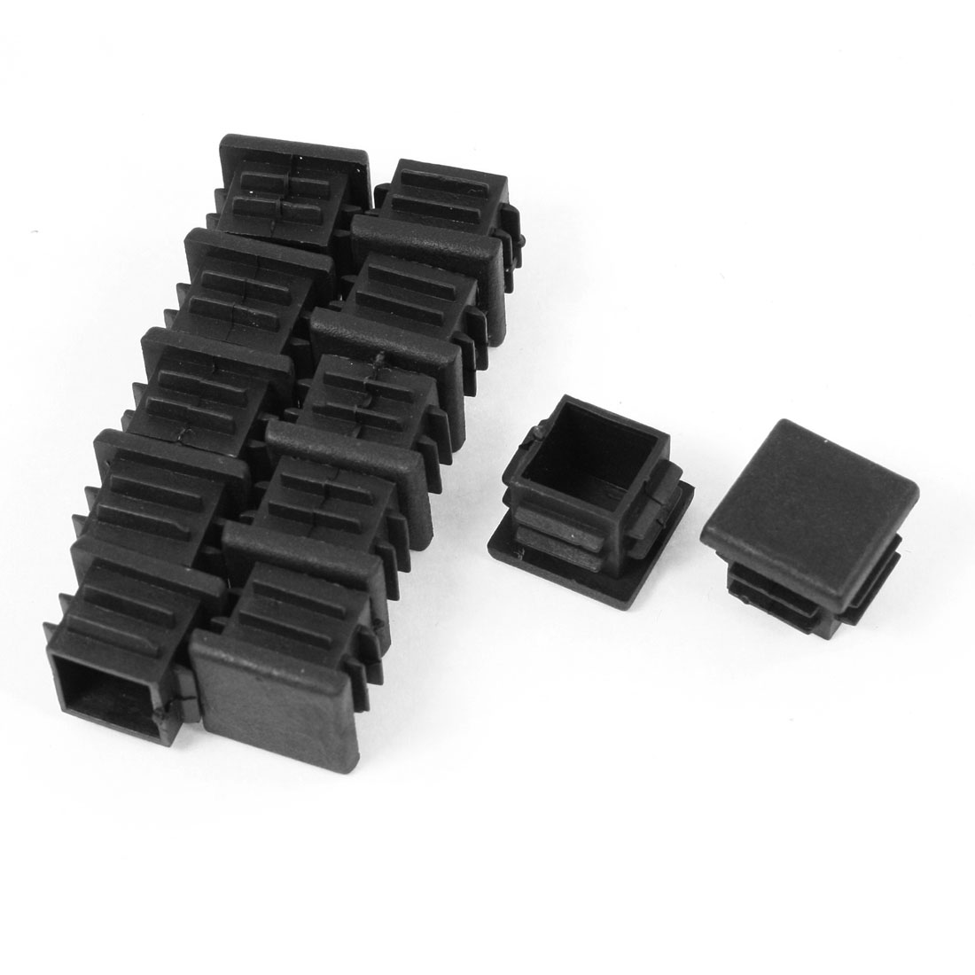 12 Pcs 19mm x 19mm Plastic Blanking End Caps Cover Square Tubing Tube Pipe Insert Black
