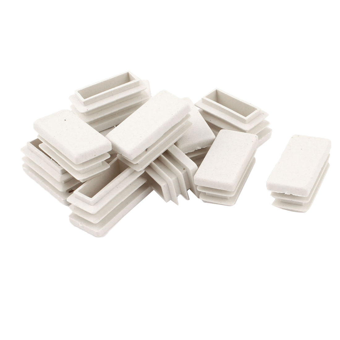 12 Pcs White Plastic Rectangle Blanking End Caps Tubing Tube Inserts 15mm x 30mm