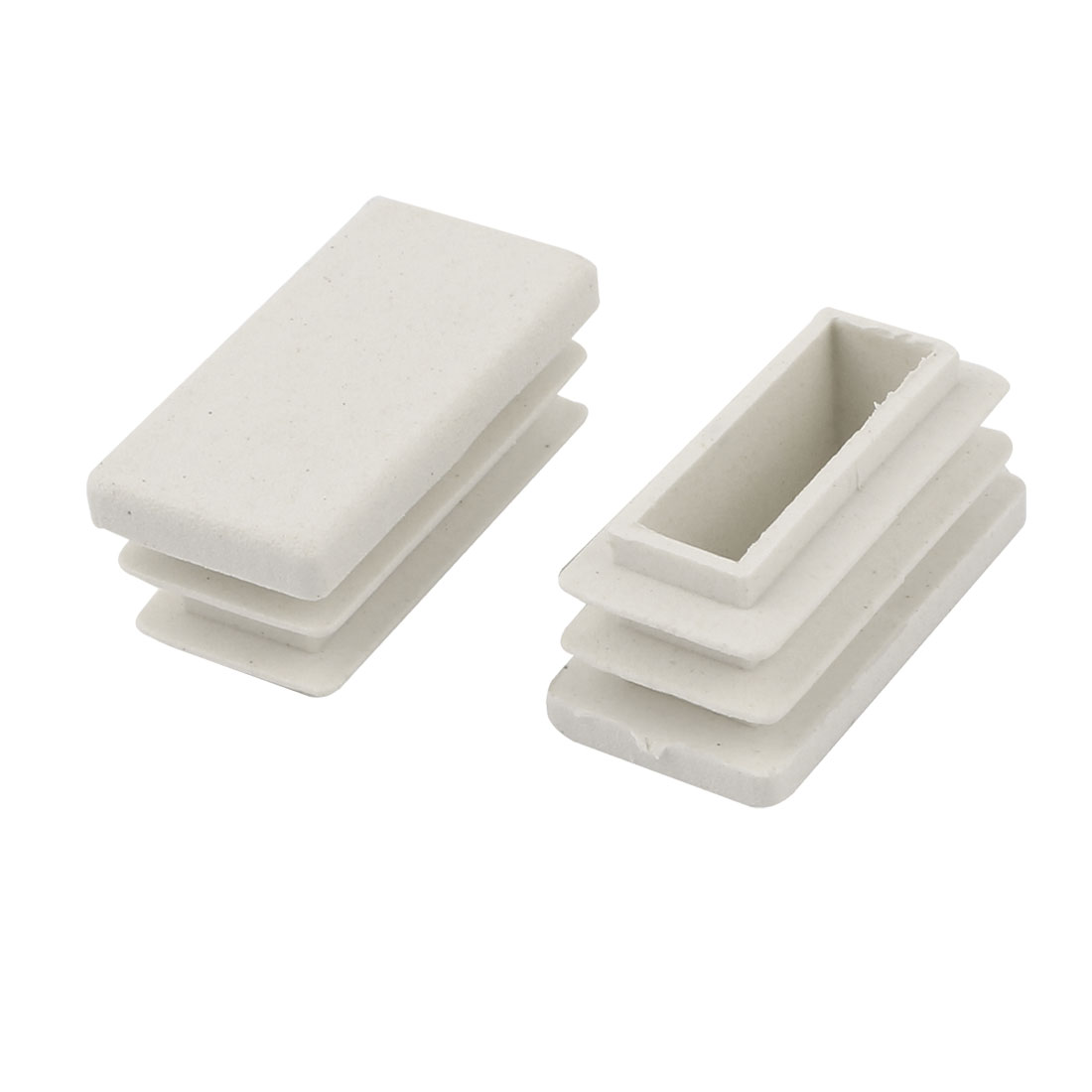 2 Pieces White Plastic Rectangle Blanking End Caps Tubing Tube Inserts 15mm x 30mm