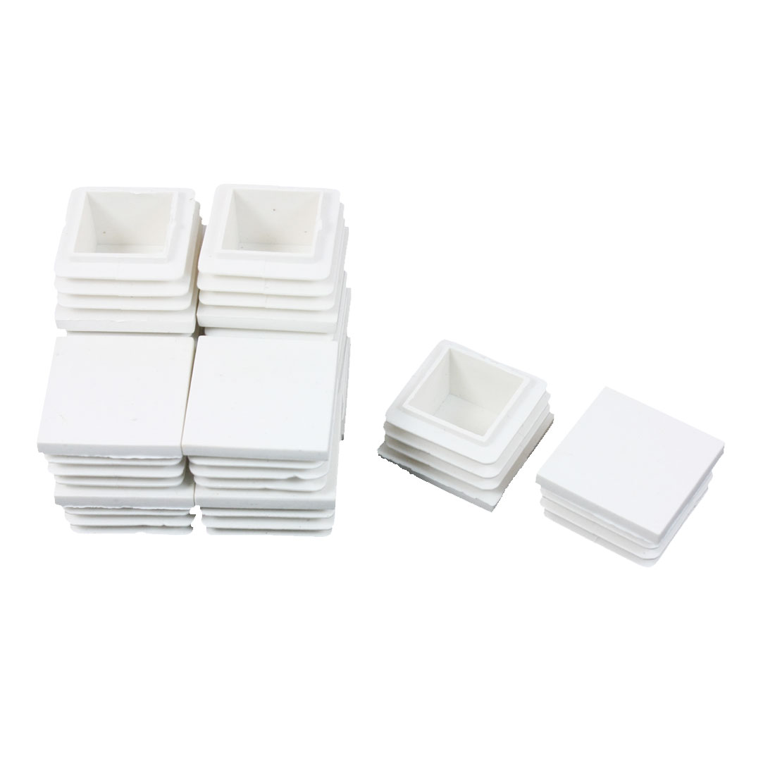 12 Pieces White Plastic Square Blanking End Caps Tubing Tube Inserts 30mm x 30mm