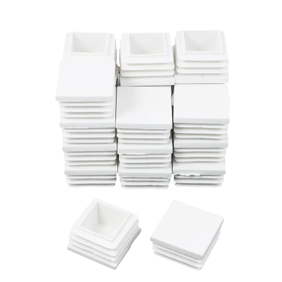 24 Pieces White Plastic Square Blanking End Caps Tubing Tube Inserts 30mm x 30mm