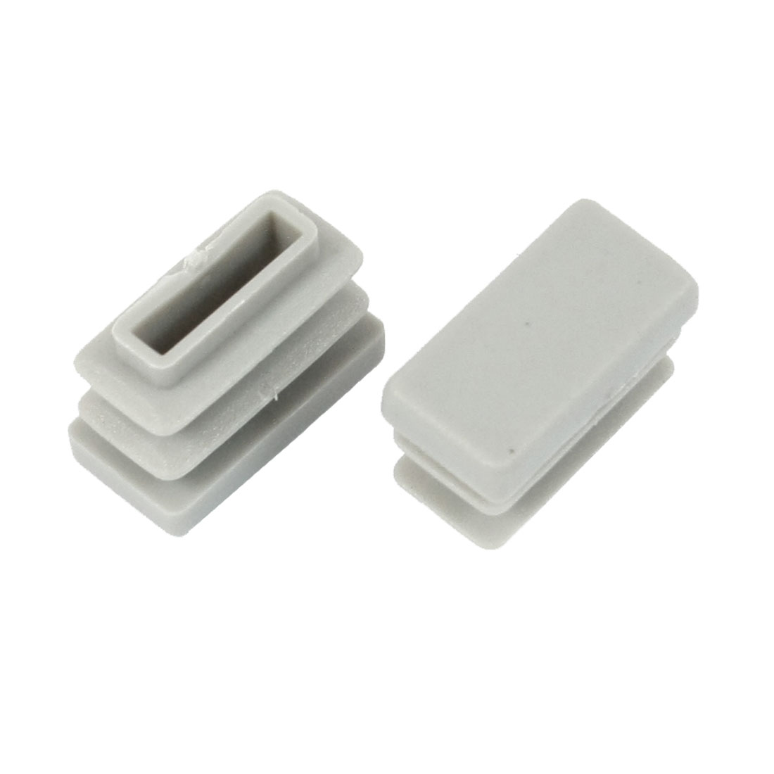 2 Pcs 10mm x 20mm Plastic Blanking End Caps Rectangle Tubing Tube Insert Gray