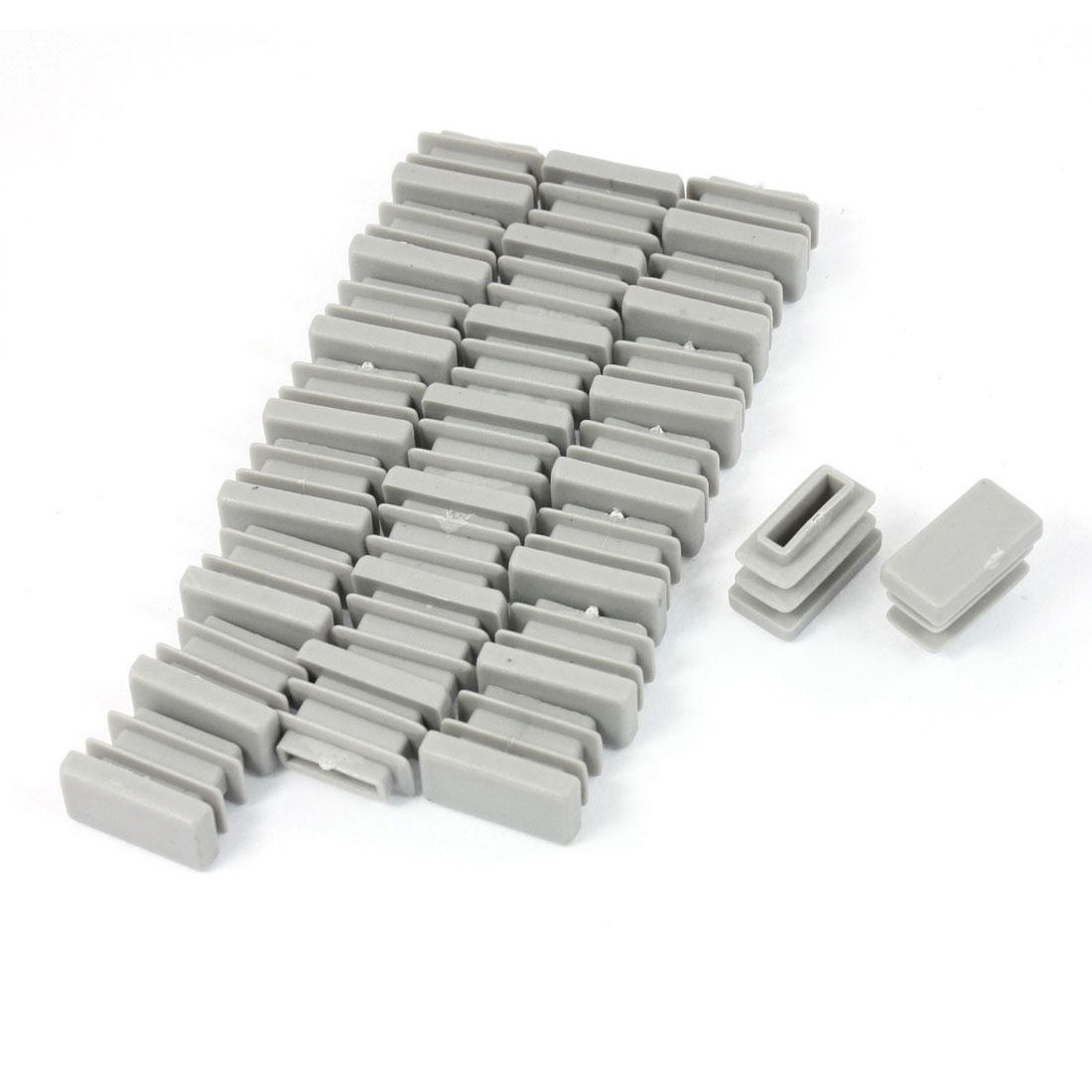 24 Pcs 10mm x 20mm Plastic Blanking End Caps Cover Rectangle Tubing Tube Insert Gray