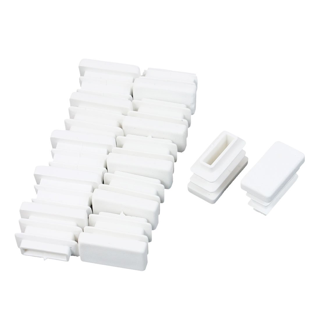 12 Pcs 10mm x 20mm Plastic Ribbed Design End Caps Rectangle Tubing Tube Insert