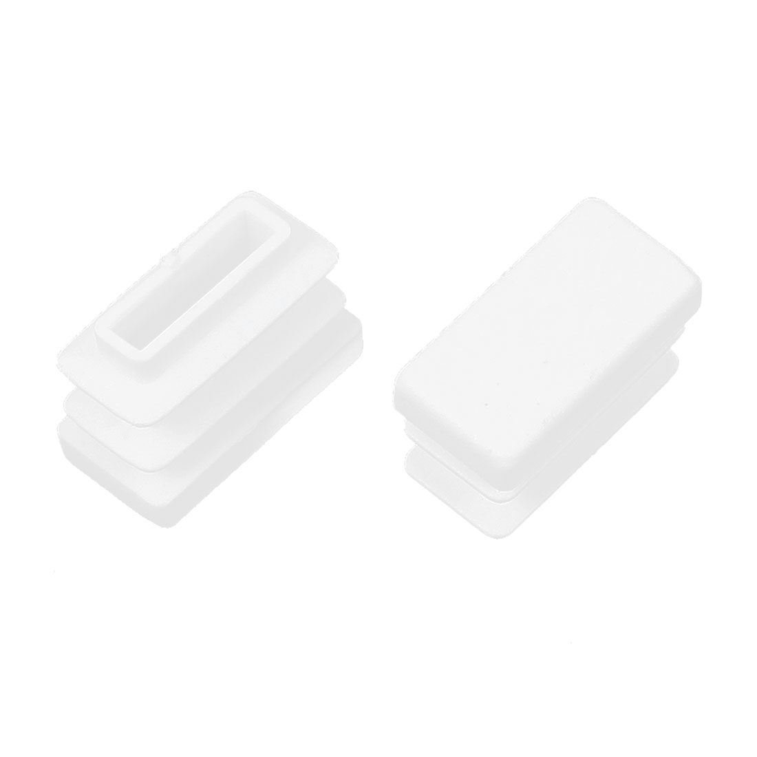 2 Pcs 10mm x 20mm Plastic Blanking End Caps Rectangle Tubing Tube Insert White