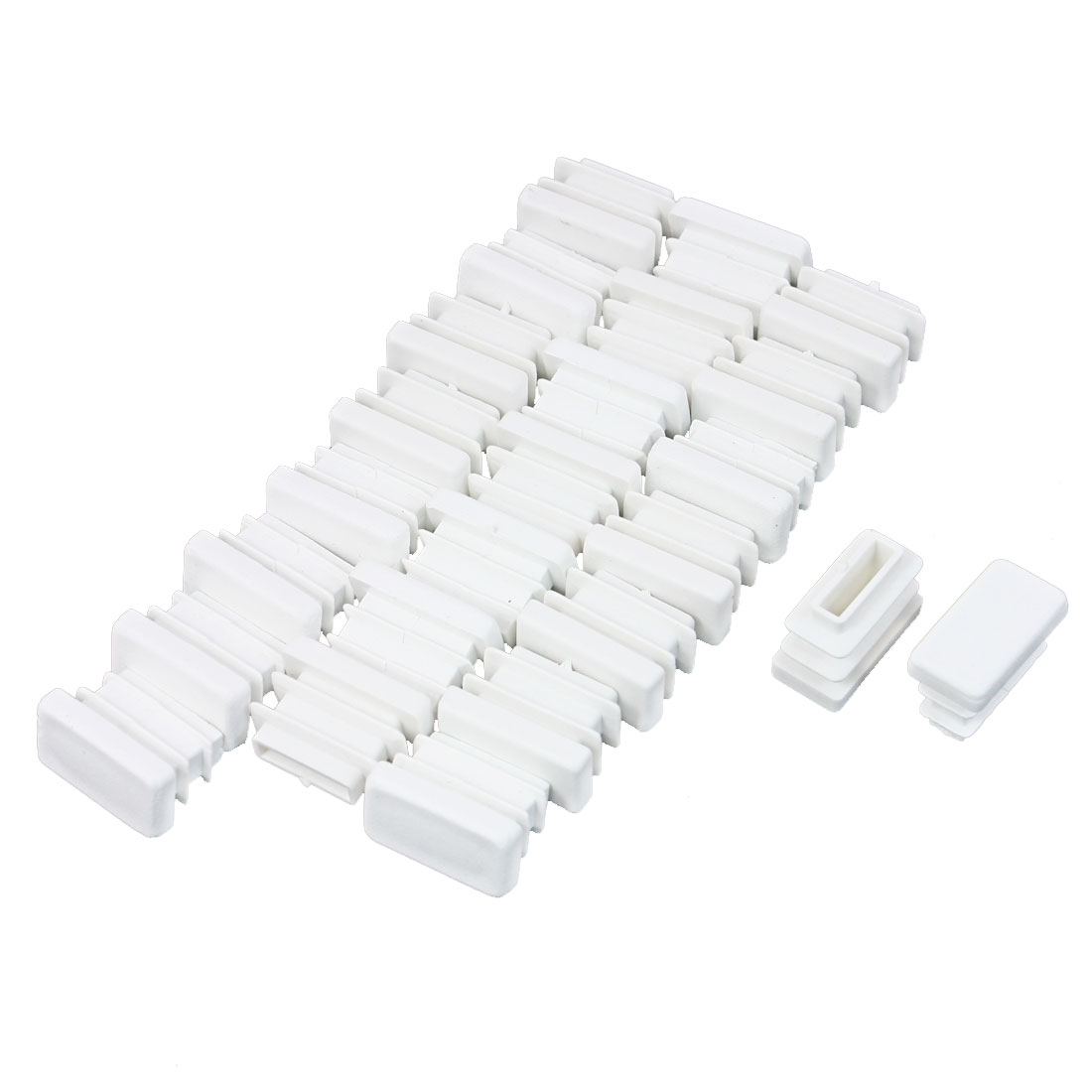 24 Pcs 10mm x 20mm Plastic Blanking End Caps Rectangle Tubing Tube Insert White