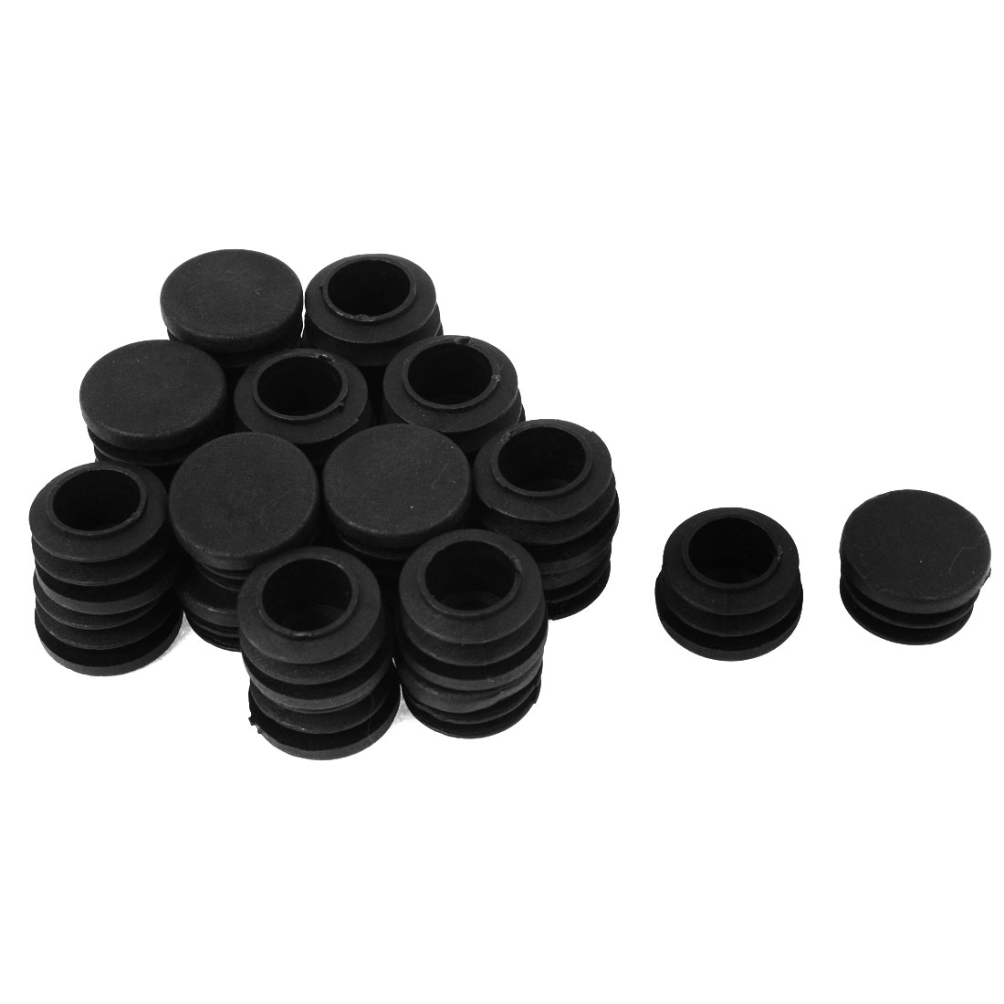 24Pcs 22mm Dia Ribbed Design Cap Cover Chair Insert Black for Round Tube