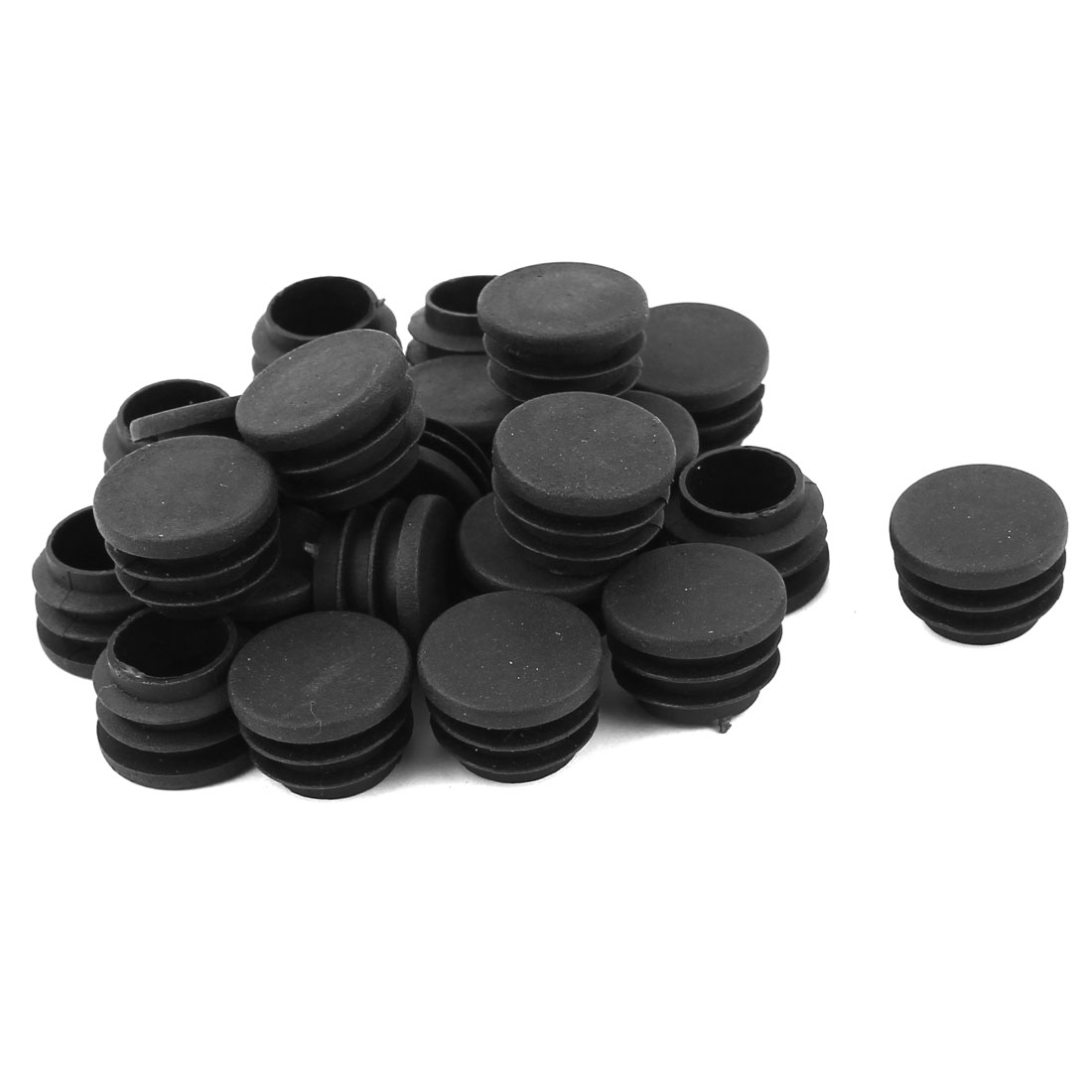 24 Pcs Black Plastic 25mm Dia Round Blanking End Caps Tubing Tube Inserts
