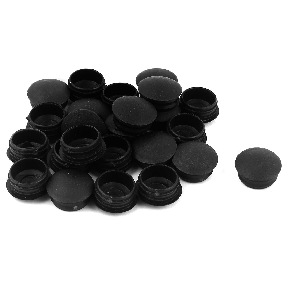 24 Pcs Black Plastic 16mm Dia Thread Round Blanking End Caps Tubing Tube Inserts