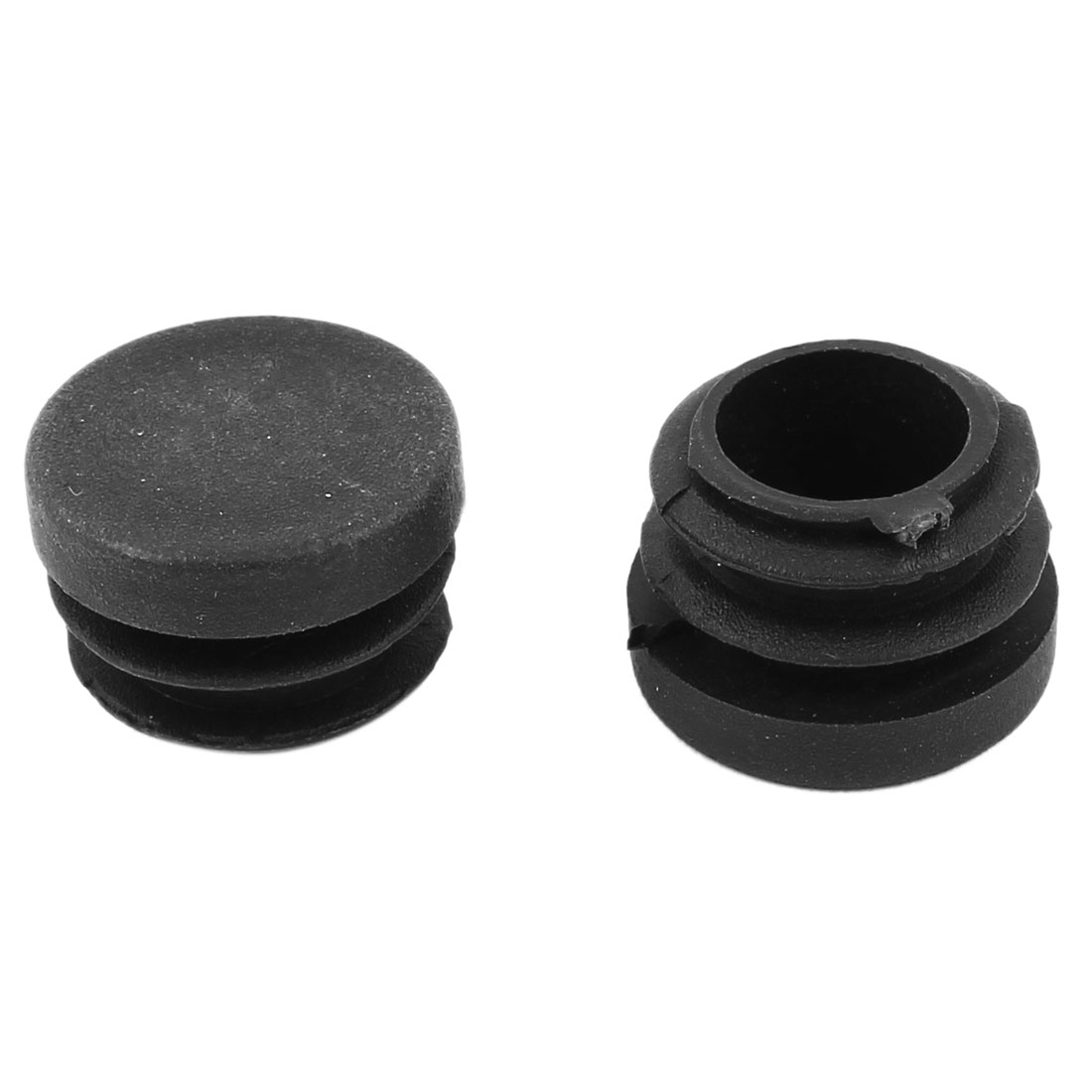 2 Pieces Black Plastic 22mm Dia Round Blanking End Caps Ribbed Tubing Inserts
