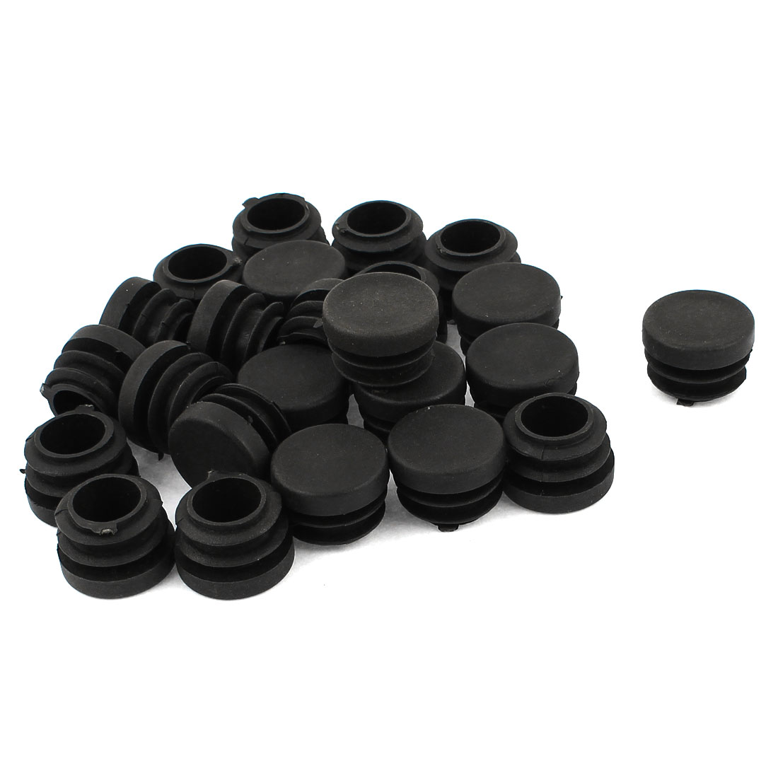 24 Pcs Black Plastic 22mm Dia Round Blanking End Caps Ribbed Tubing Inserts