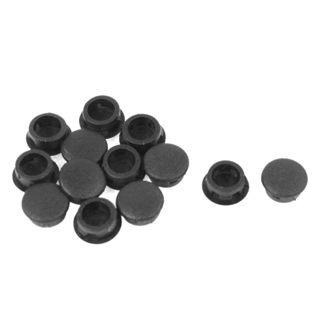 12 Pcs Black Plastic 10mm Dia Round Tubing Tube Insert Caps Covers