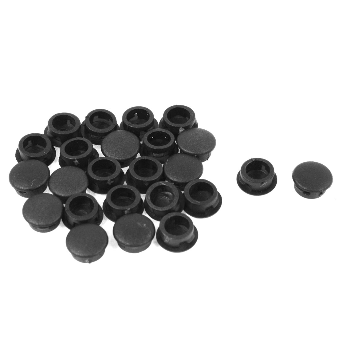 24 Pcs Black Plastic 10mm Diameter Round Tubing Tube Insert Caps Covers