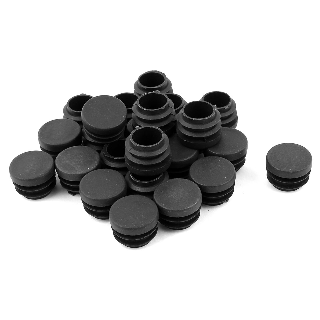 24 Pcs Black Plastic 25mm Dia Round Blanking End Caps Ribbed Tubing Inserts