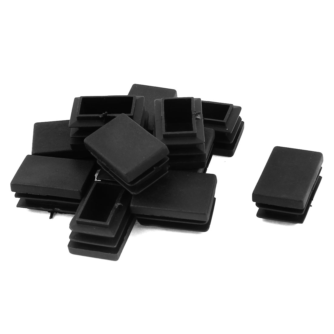 12 Pcs Black Plastic Rectangle Blanking End Caps Tubing Tube Inserts 20mm x 30mm