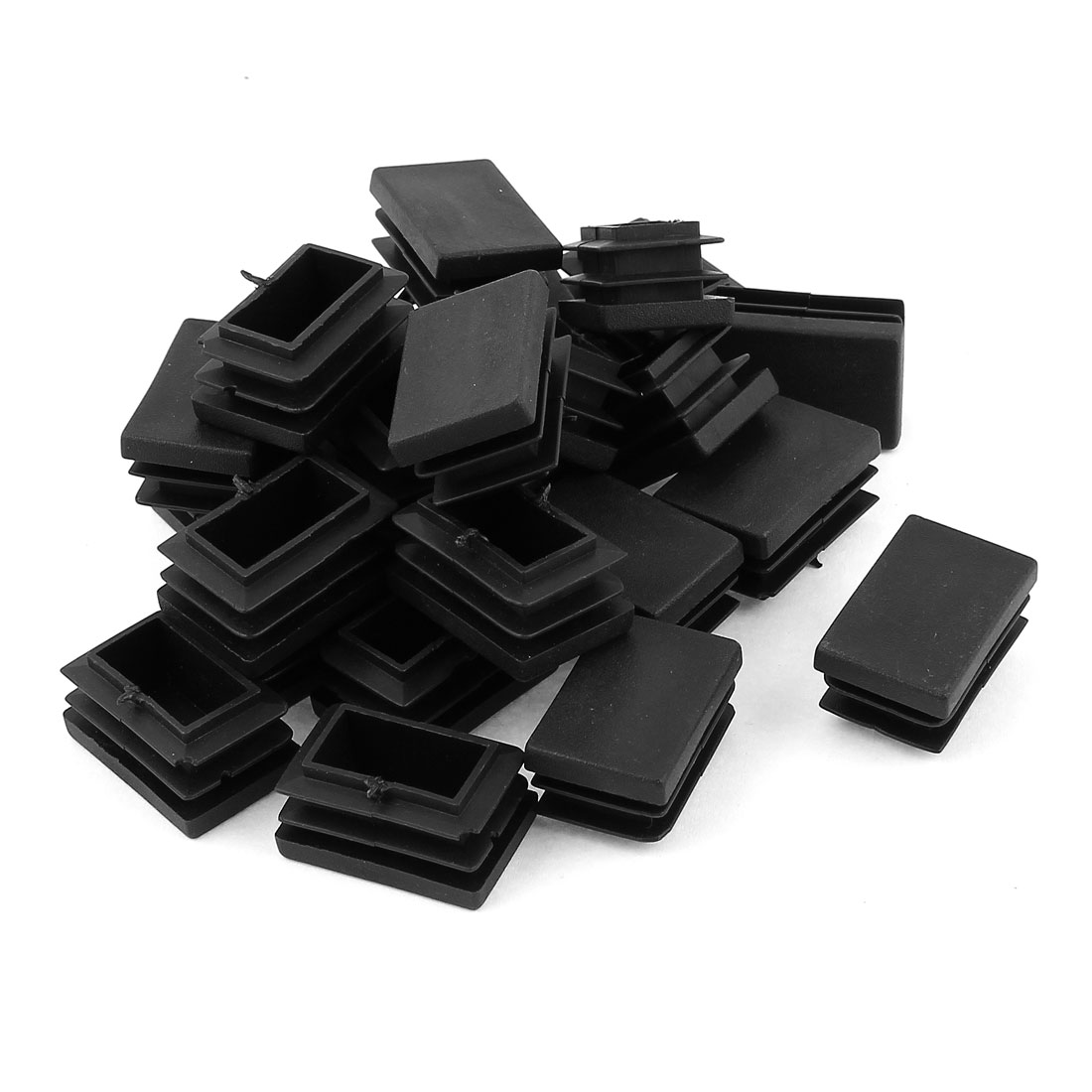 24 Pcs Black Plastic Rectangle Blanking End Caps Tubing Tube Inserts 20mm x 30mm
