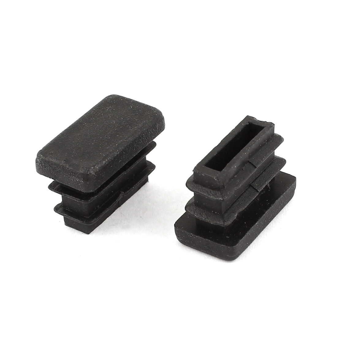 2 Pieces Black Plastic Rectangle Blanking End Caps Tubing Tube Inserts 10mm x 20mm