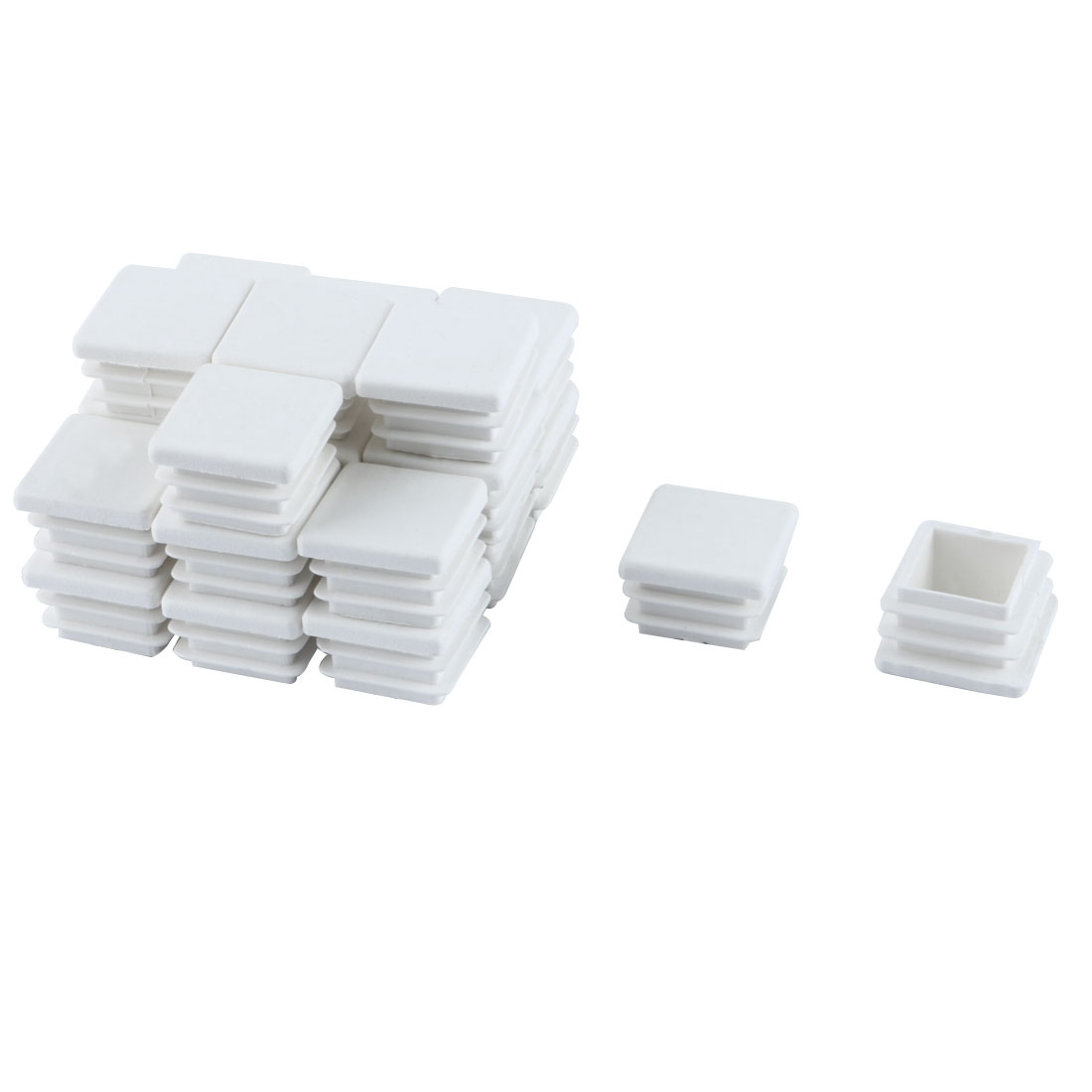 24 Pieces White Plastic Square Blanking End Caps Tubing Tube Inserts 20mm x 20mm