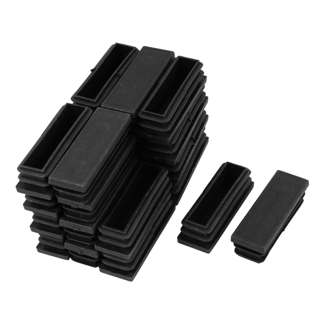 24 Pcs Black Plastic Rectangle Blanking End Caps Cover Tube Inserts 20mm x 60mm