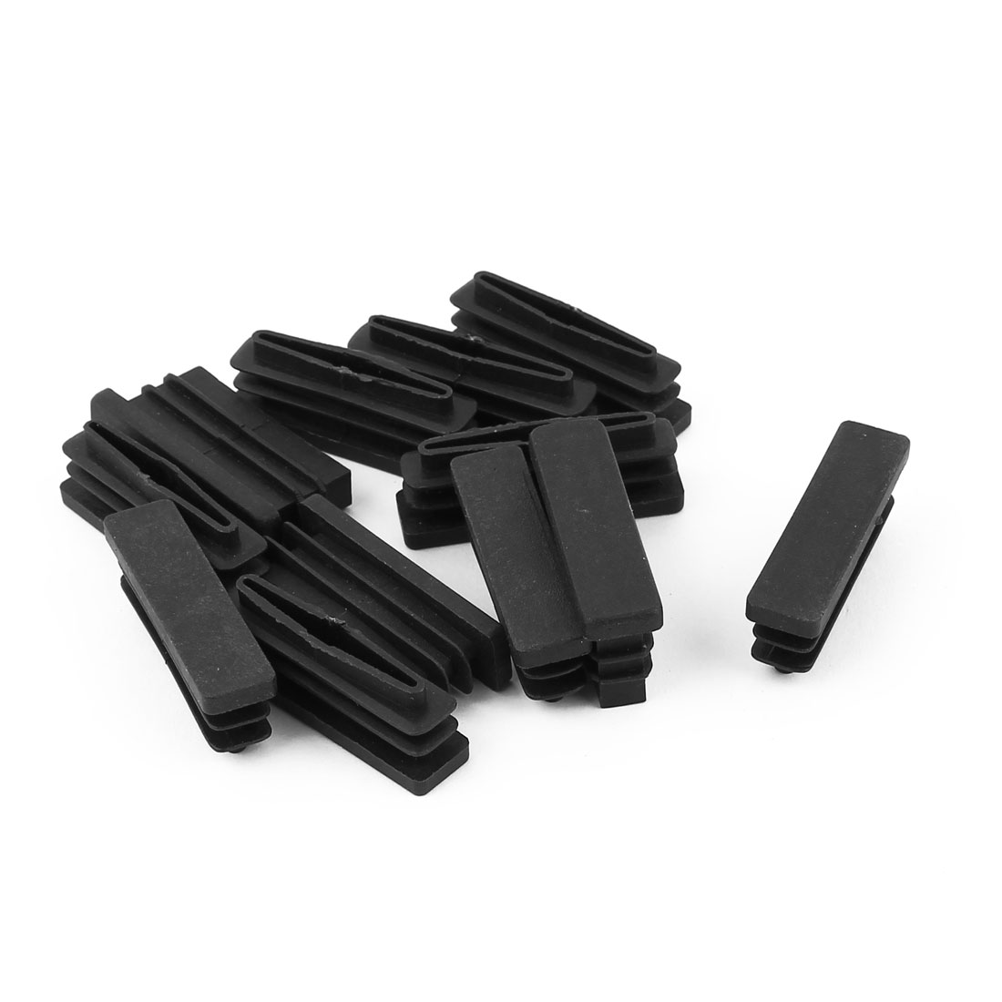 12 Pcs Black Plastic Rectangle Blanking End Caps Tubing Tube Inserts 10mm x 40mm