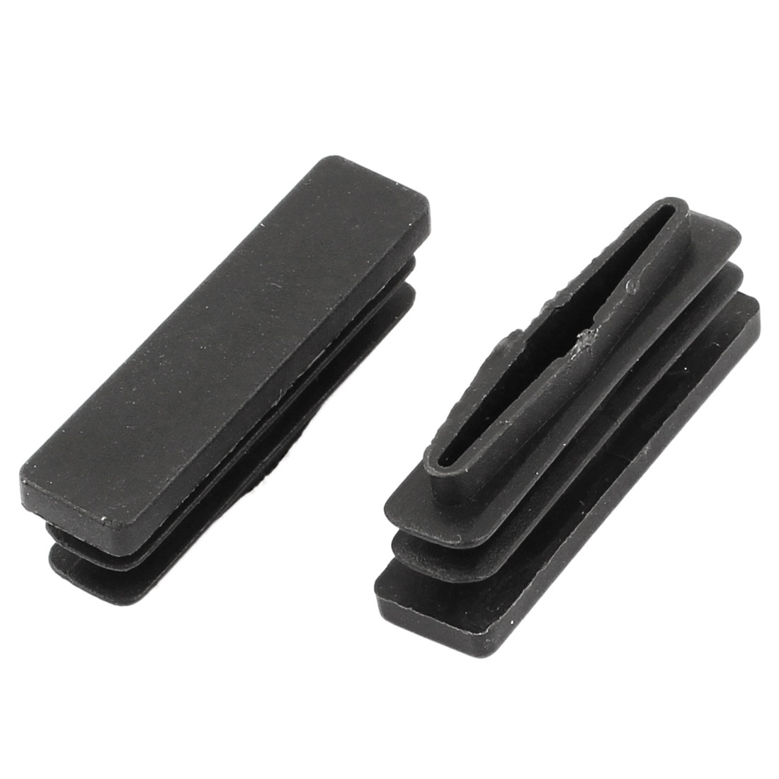 2 Pieces Black Plastic Rectangle Blanking End Caps Tubing Tube Inserts 10mm x 40mm