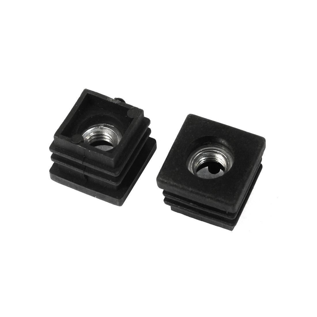 2 Pcs 7mm Female Thread Plastic Blanking End Caps Square Tube Inserts 20mm x 20mm