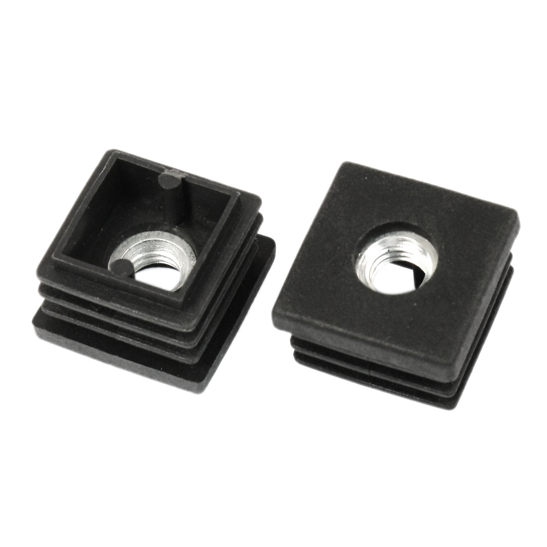 2Pcs 8mm M8 Thread Square Blanking End Caps Tubing Tube Inserts 25mm x 25mm