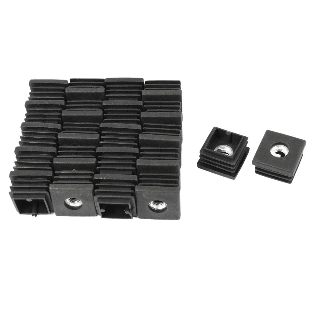 25mm x 25mm x M8 Threaded Square Tube Inserts Caps Cover Protectors Black 24 Pcs