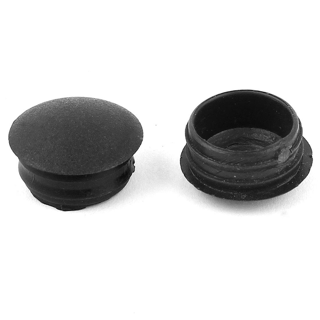 2 Pieces Black Plastic 16mm Dia Thread Round Blanking End Caps Tubing Tube Inserts