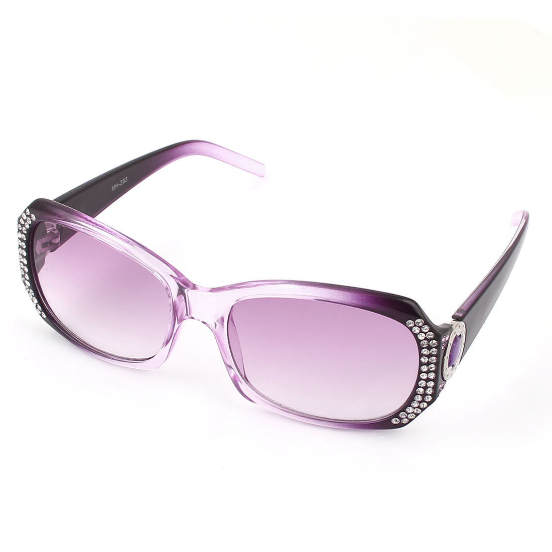 Woman Plastic Rhinestones Full Rim Rectangle Lens Sunglasses Purple