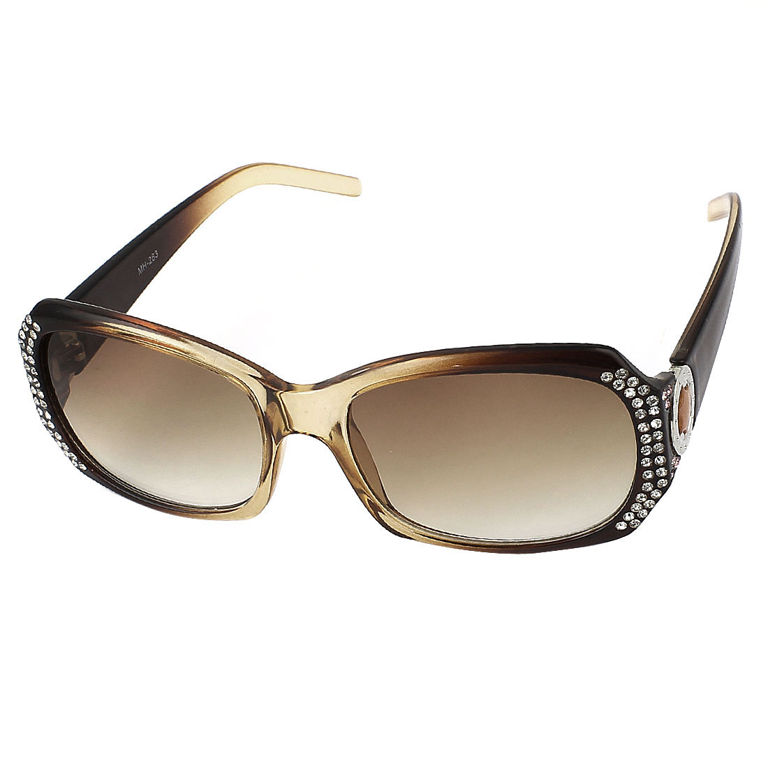 Woman Plastic Rhinestones Full Rim Rectangle Lens Sunglasses Brown