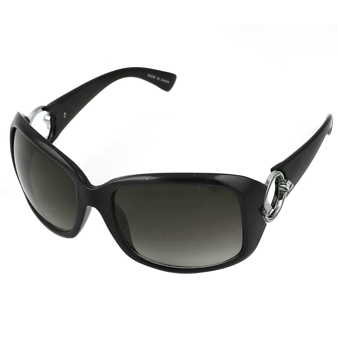 Lady Plastic Black Full Frame Round Detail Arm Square Lens Sunglasses