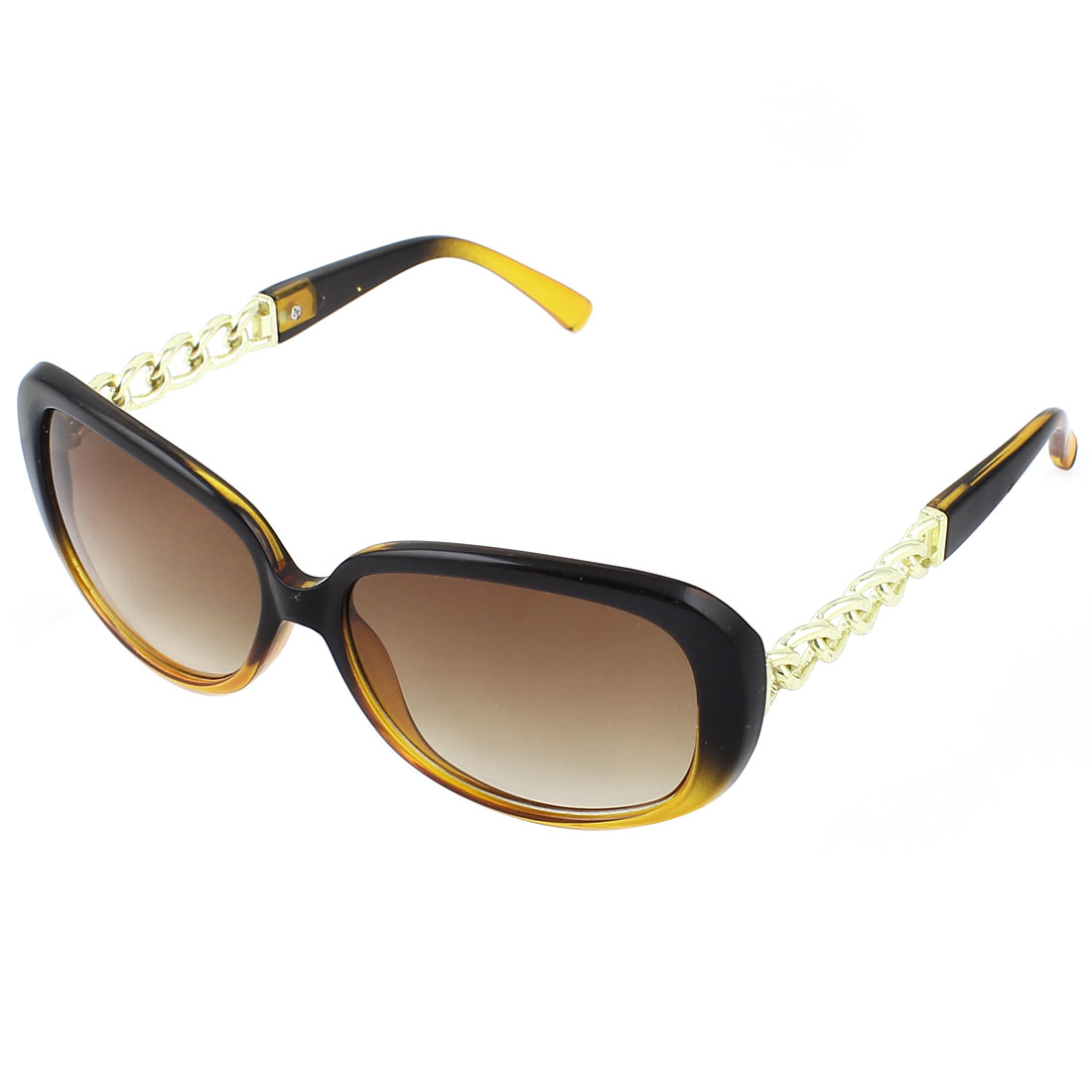 Woman Plastic Metal Chain Detail Arm Full Rim Square Lens Sunglasses Brown